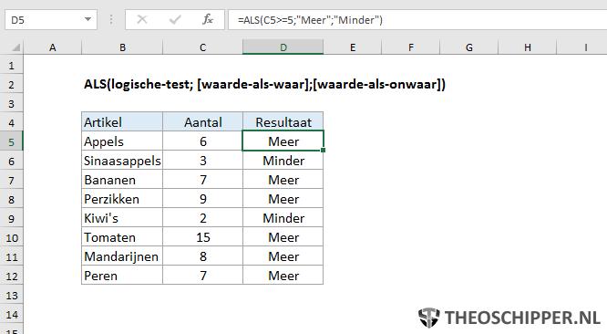 Excel ALS functie