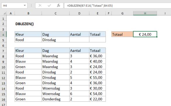 De Excel DBLEZEN functie uitgelegd