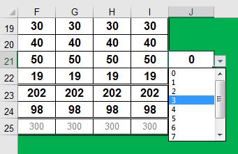 Excel dropdown list