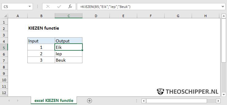 Excel KIEZEN functie
