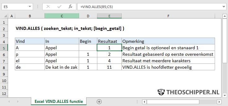 Excel VIND.ALLES functie