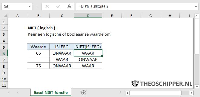 Excel NIET() functie